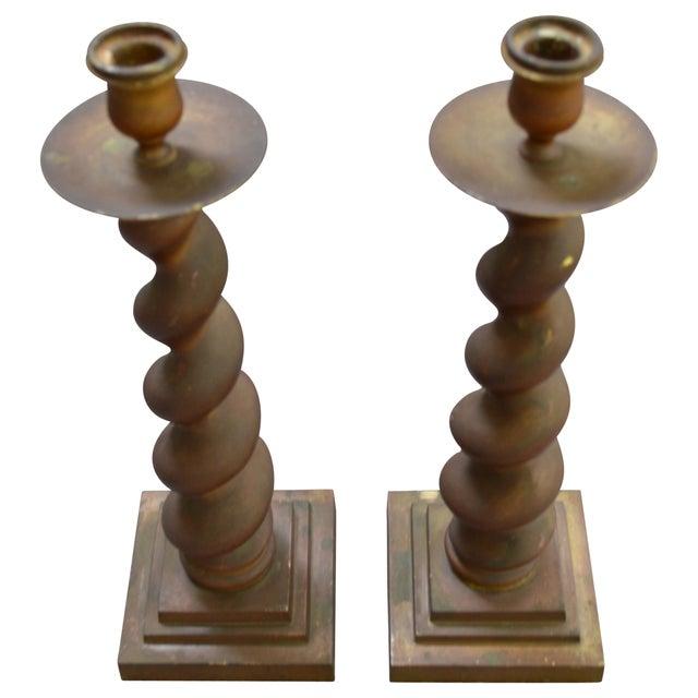 Image of Vintage Brass Candlesticks - Pair