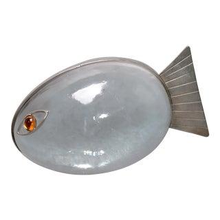 Italian Glass & Steel Fish Paper Weight