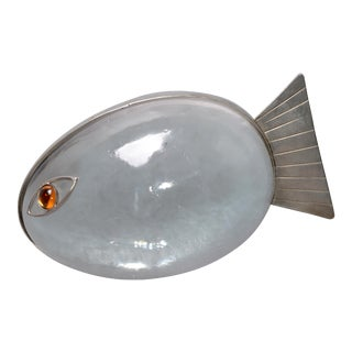 Italian Glass & Steel Fish Paper Weight