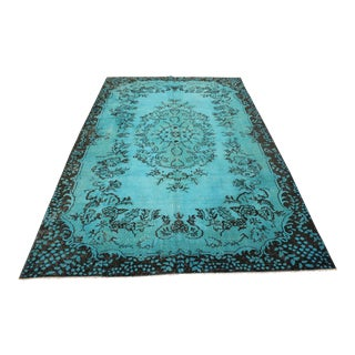 "Turquoise Turkish Overdyed Rug - 6'6"" X 10'2"""