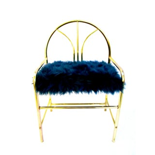 Vintage Glam Brass & Faux Fur Cushion Vanity Chair