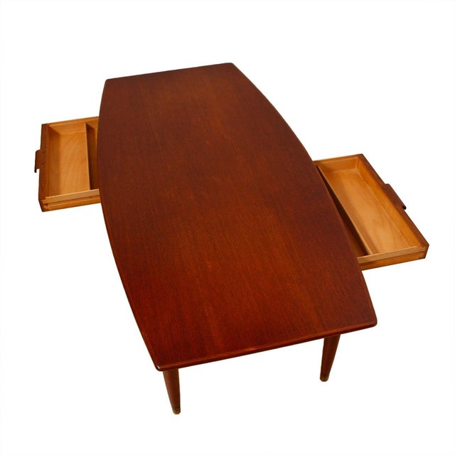 Image of Swedish Teak Curved Coffee Table with Storage