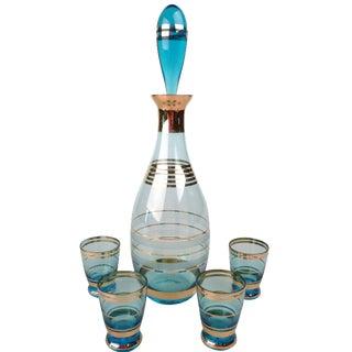 5-Piece 1950s Decanter & Shot Glasses Set
