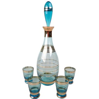 5-Piece 1950s Decanter & Shot Glasses Set