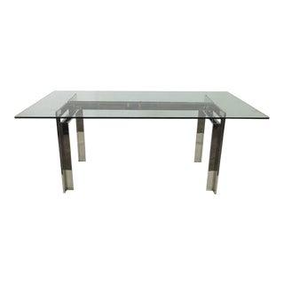 Minimalist and Architectural Italian Nickel Table/Desk