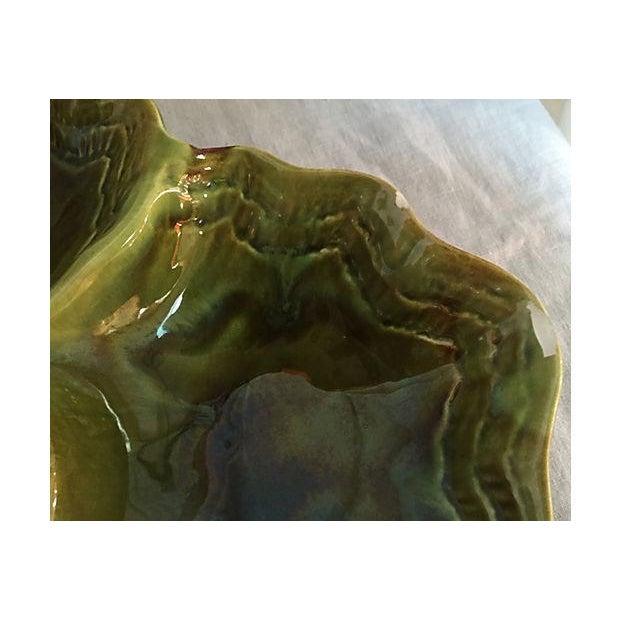Handmade Green Drip Glazed Ceramic Platter - Image 4 of 4