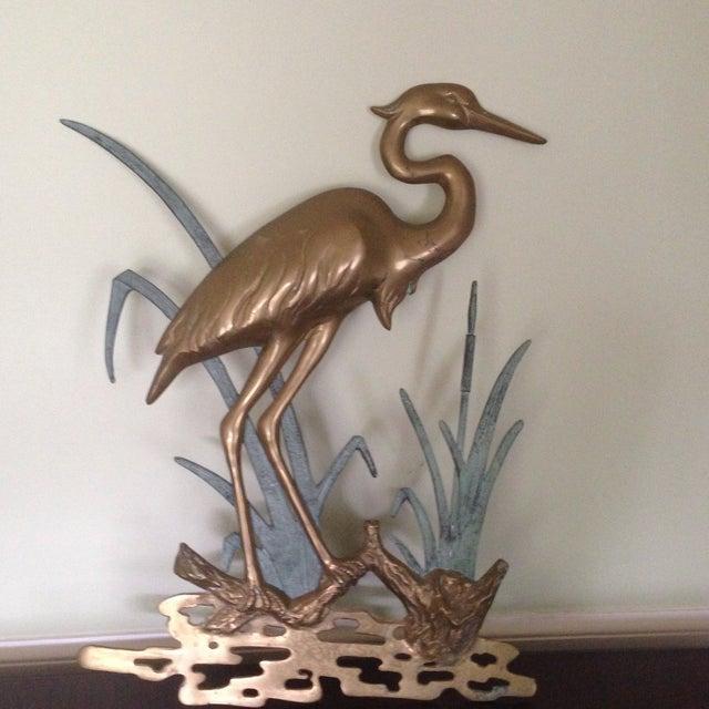 Large Vintage Brass Heron Wall Hanging - Image 3 of 11