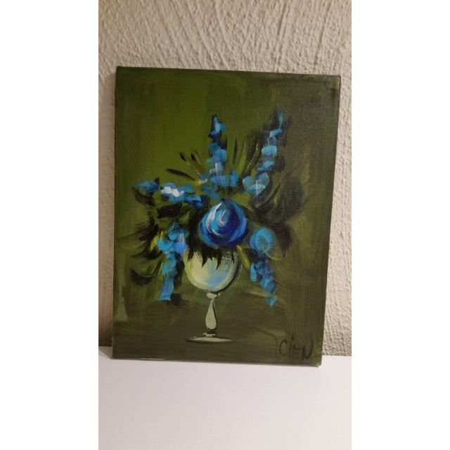 Blue Flowers in a Vase Painting - Image 5 of 5