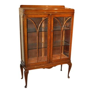 English Oak Display Cabinet Circa 1920