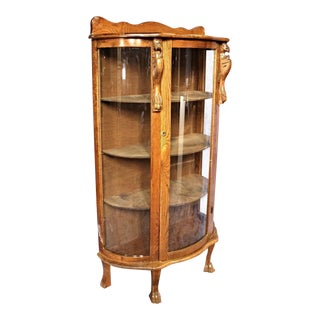 Antique Oak Curved Curio Display China Cabinet, 1900s