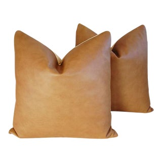 "20"" Custom Tailored Italian Brown Leather/Velvet Feather/Down Pillows - Pair"