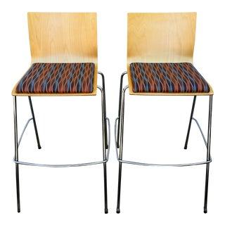 Veneer & Upholstered Bar Stools - A Pair