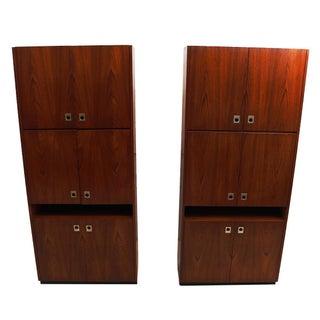 Tall 6 Door Teak Storage Cabinets - A Pair