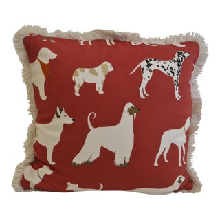 Red Cotton Dog Print Pillow