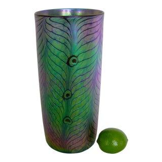 Large Lundberg Studios Art Glass Peacock Pattern Vase
