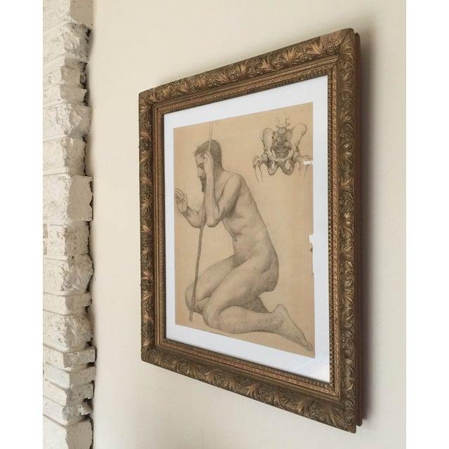 Rare Original Victorian Framed Figure Drawing - Image 5 of 7