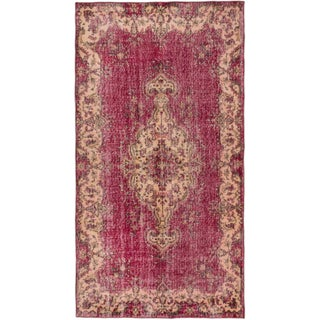 "Pink Turkish Overdyed Rug - 3'9"" X 7'1"""