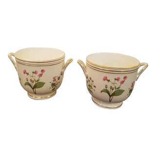 Vintage English Gold Banded Floral Cachepot by Minton - A Pair