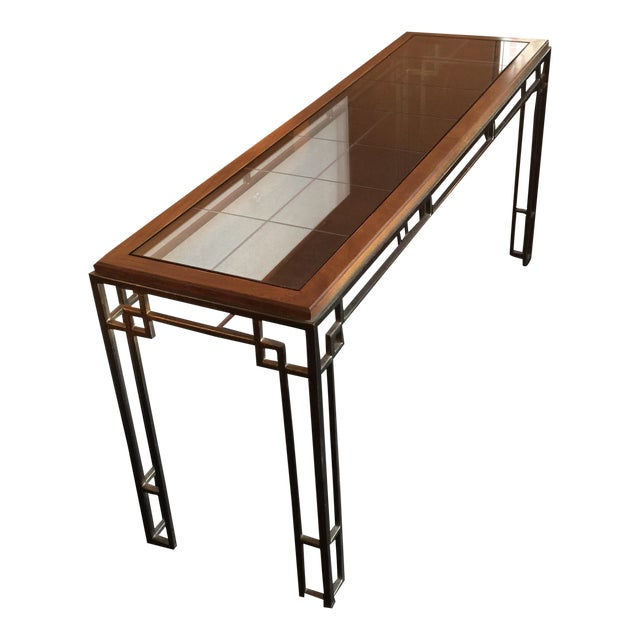 Midcentury Modern Brass Base Console Table - Image 1 of 9