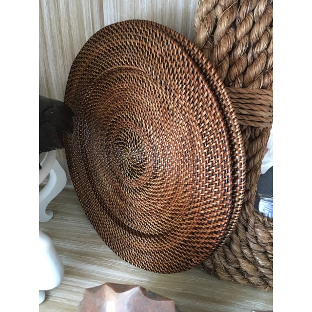 Woven Rattan Round Trays, A Pair - Image 3 of 4