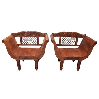 Wood & Wrought Iron Backed Carved Chairs - Pair