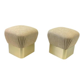 Satin Brass Poufs by Sally Sirkin Lewis for J Robert Scott - A Pair