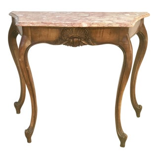 Louis XV Pink Marble Top Console Table w/ Cabriole Legs