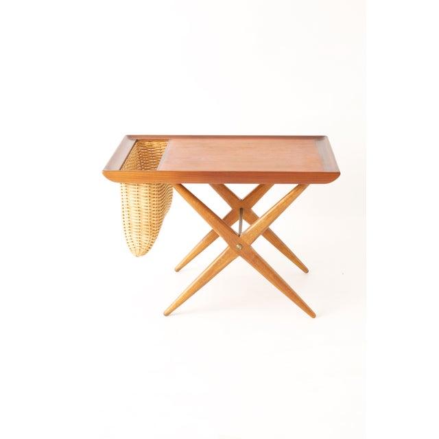 Teak Walnut MCM Side Table Woven Magazine Basket - Image 2 of 11