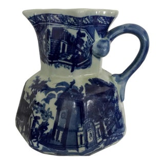 Vintage Chinese Flow Blue Style Porcelain Pitcher