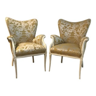 Citrine Upholstered Wingback Chairs - A Pair