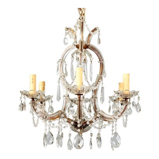 French Heavily Beaded Small Six Light Maria Theresa Chandelier
