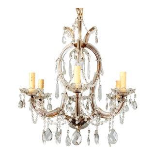 Heavily Beaded Small Six Light Maria Theresa Chandelier