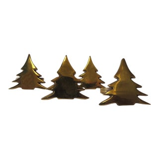 Brass Christmas Trees Napkin Holders - Set of 4
