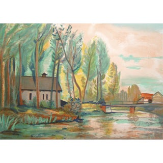 French River Scene Lithograph by Robert Francolin