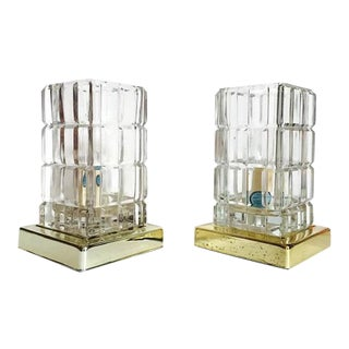 Vintage Cut Glass Bedside Table Lamps Modern Accent Lamps - A PAIR