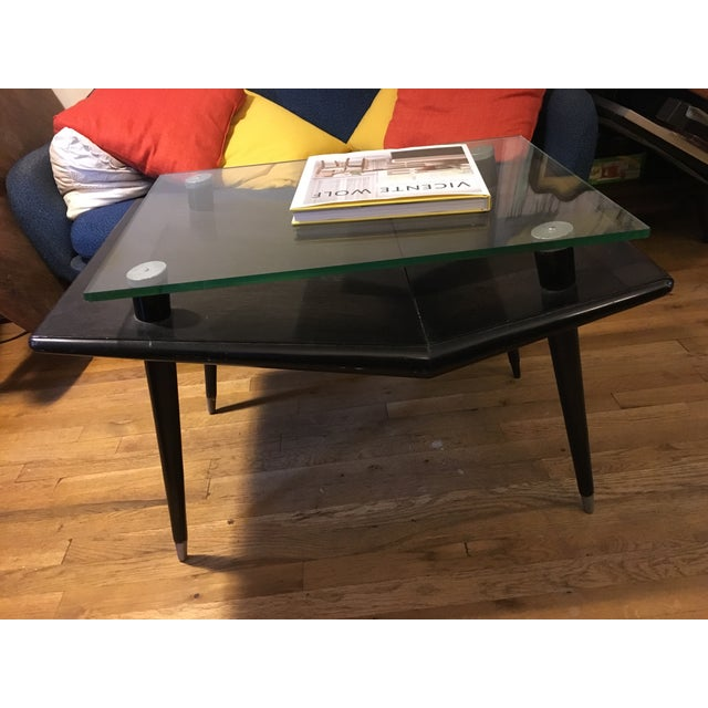 Mid-Century Modern Black Wood & Glass Side Table - Image 10 of 10