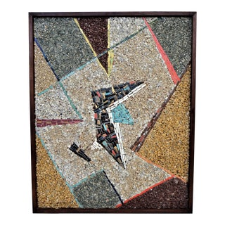 Vintage Cubist Abstract Mosaic and Stone Wall Sculpture