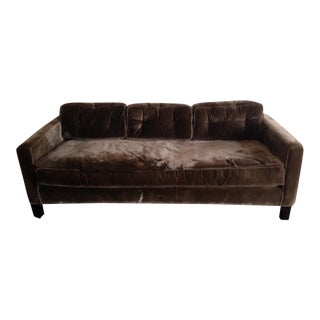 Brown Silk Velvet Three Seater Sofa