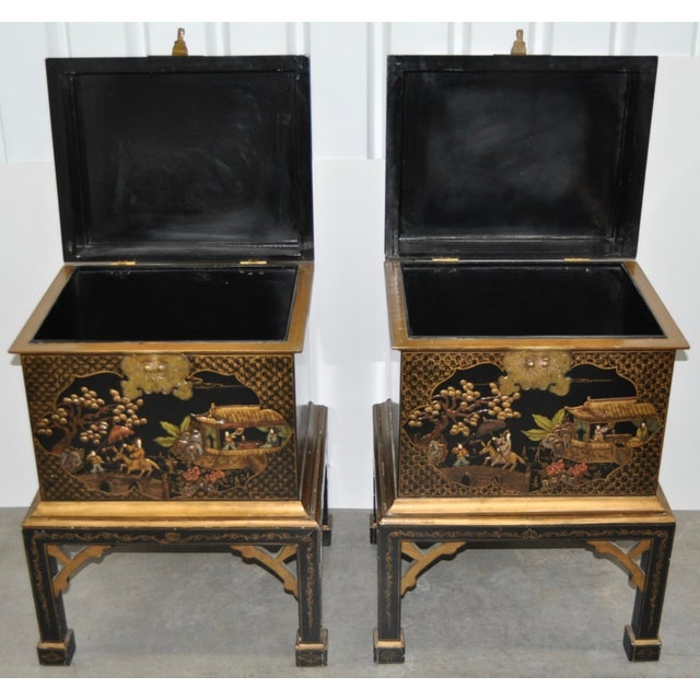 Vintage Chinoiserie Trunk Side Tables - A Pair - Image 4 of 8