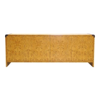 Milo Baughman Burl Wood Credenza with Chrome Trim, Excellent