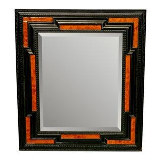 19th Century Dutch Ebonized and Burl Wood Beveled Edge Mirror