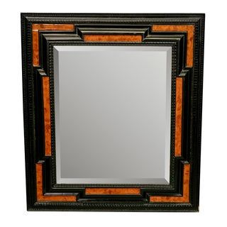 19th Century Dutch Ebonized and Burl Wood Beveled Edge Mirror
