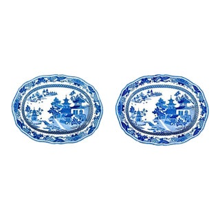 Staffordshire Chinoiserie Pearlware Underglaze Blue Dishes