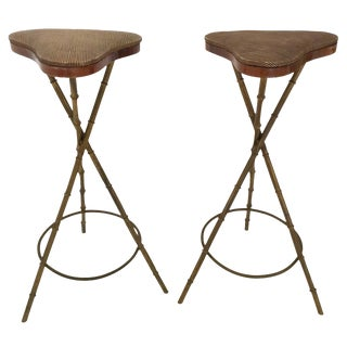 Pair of Faux Bamboo Bar Stools