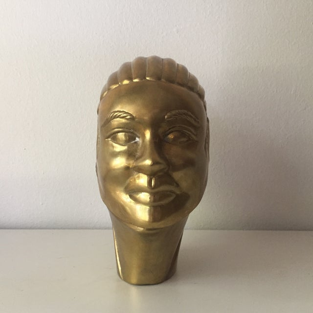 2 Faced Lidded Brass Figure - Image 3 of 11