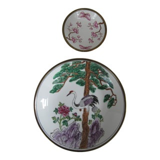Japanese Cherry Blossom & Crane Catchalls - Pair