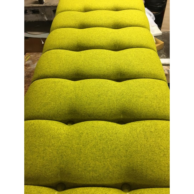 Mid-Century Modern Bright Yellow Tufted Bench on Brass Base - Image 8 of 11