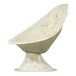 Early 60s Custom-made Fiberglass Shell Chair With Red Paintdrops
