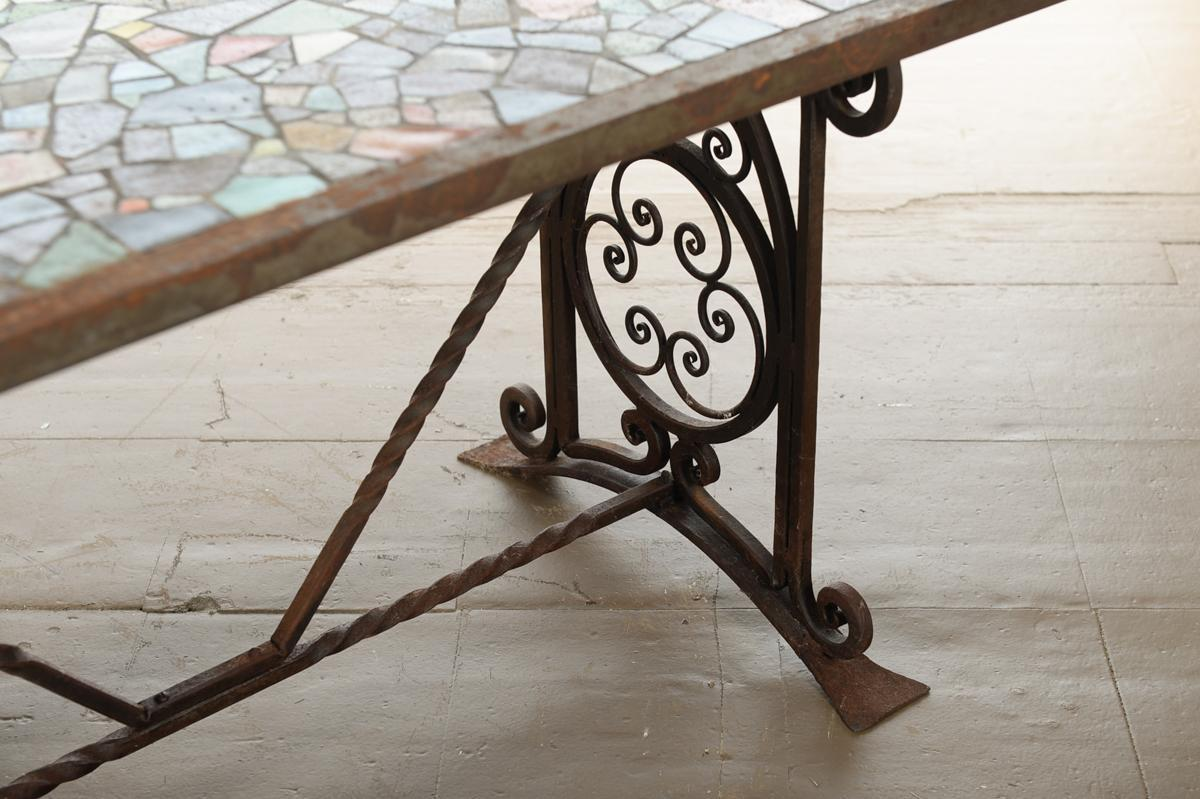 Antique Spanish Iron Coffee Table W/ Mosaic Tiles   Image 4 Of 9