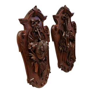 19th Century French Carved Walnut Black Forest Wall Trophies - a Pair
